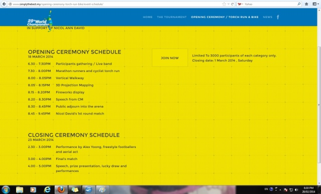 Opening and Closing Schedule accessed from website