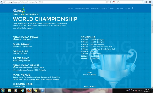 Tournament Schedule accessed from website